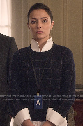 Emily's windowpane check sweater on Designated Survivor