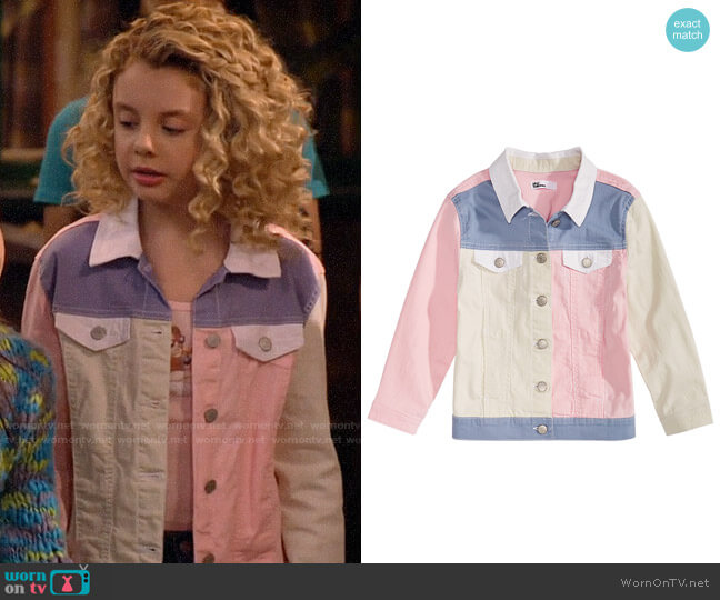 Epic Threads Loved Colorblocked Cotton Denim Jacket worn by Destiny Baker (Mallory James Mahoney) on Bunkd