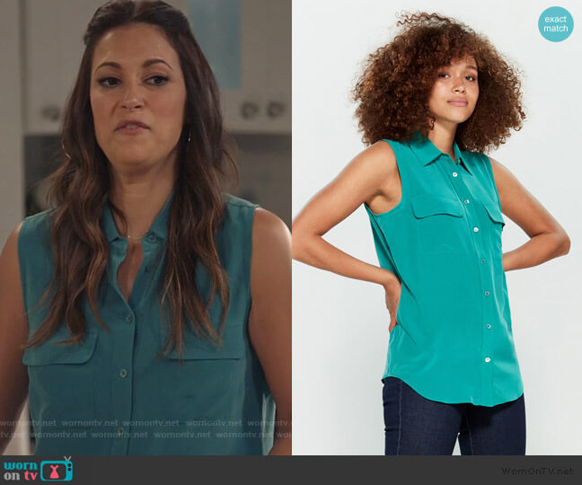 Sleeveless Slim Signature Top by Equipment worn by Colleen Brandon-Ortega (Angelique Cabral) on Life in Pieces