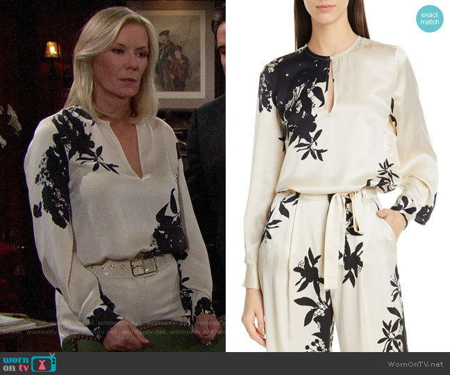 Equipment Delainey Blouse worn by Brooke Logan (Katherine Kelly Lang) on The Bold & the Beautiful