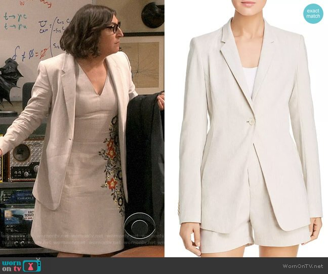 Elie Tahari Hillary Blazer worn by Amy Farrah Fowler (Mayim Bialik) on The Big Bang Theory