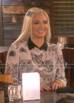 Erika's white cat print blouse on The Real Housewives of Beverly Hills