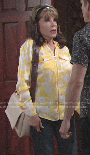 Esther's yellow floral zip-front shirt on The Young and the Restless