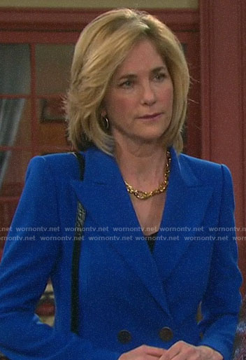 Eve's blue double-breasted blazer on Days of our Lives