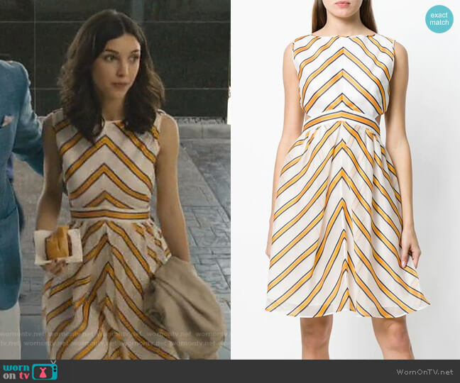 striped shift dress by Fendi worn by Alicia Mendoza (Denyse Tontz) on Grand Hotel