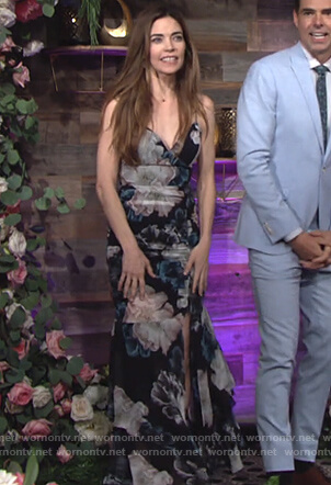 Victoria's black floral maxi dress on The Young and the Restless