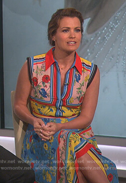 Melissa Claire Egan's floral asymmetric dress on The Talk