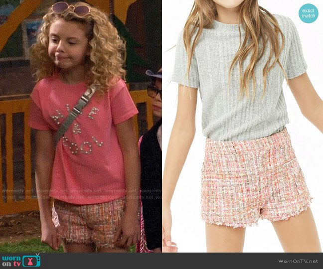 Forever 21 Girls Multicolored Tweed Shorts  worn by Destiny Baker (Mallory James Mahoney) on Bunkd