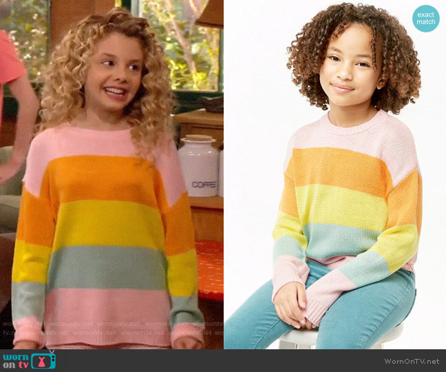 Forever 21 Girls Striped Knit Sweater worn by Destiny Baker (Mallory James Mahoney) on Bunkd