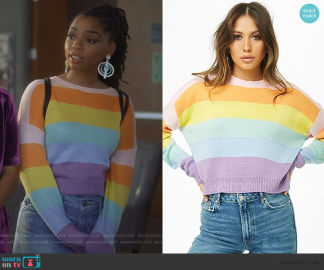 Rainbow Stripe Sweater by Forever 21 worn by Jazlyn Forster (Chloe Bailey) on Grown-ish