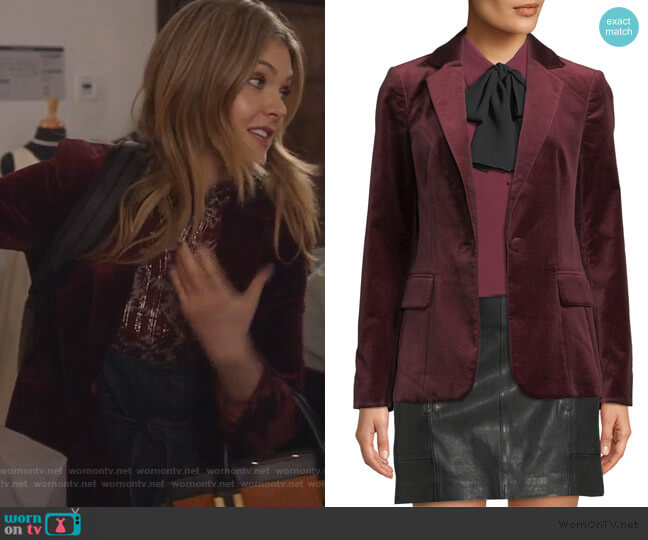 Classic One-Button Velvet Blazer by Frame worn by Sutton (Meghann Fahy) on The Bold Type