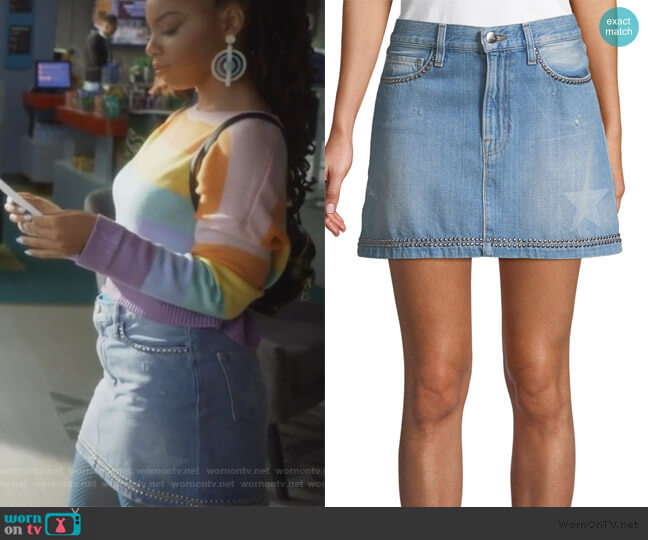 Le Mini Studded Denim Skirt by Frame worn by Jazlyn Forster (Chloe Bailey) on Grown-ish