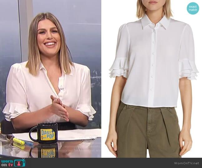 Ruffle Sleeve Silk Top by Frame worn by Carissa Loethen Culiner  on E! News