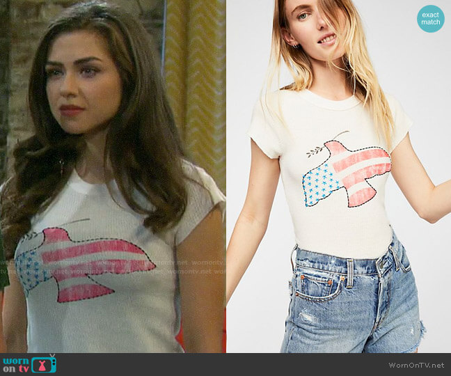 We the Free Love Dove Tee worn by Ciara Brady (Victoria Konefal) on Days of our Lives