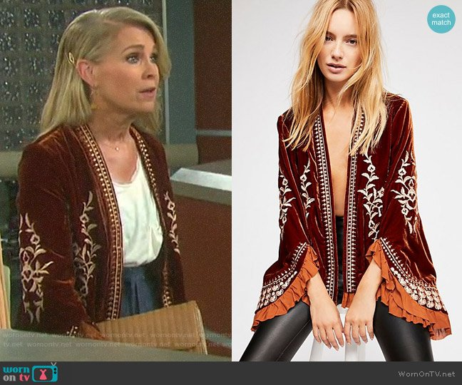 Free People Paisley Park Jacket worn by Jennifer Horton (Melissa Reeves) on Days of our Lives