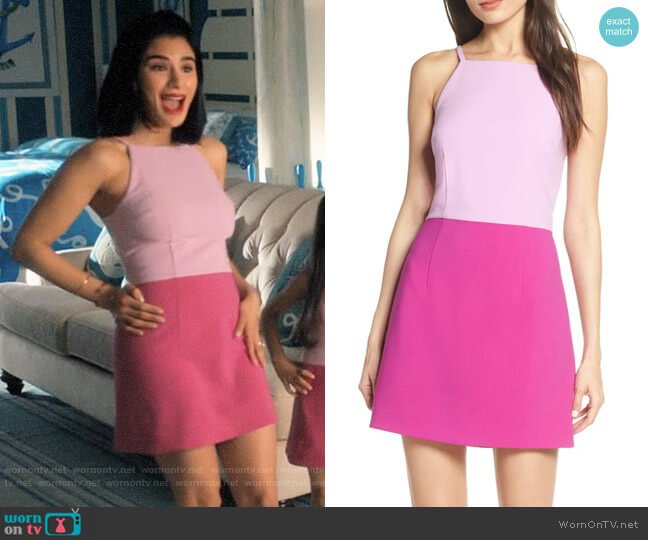French Connection Whisper Colorblock Dress worn by Lina Santillan (Diane Guerrero) on Jane the Virgin