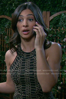 Gabi's black geometric halter dress on Days of our Lives