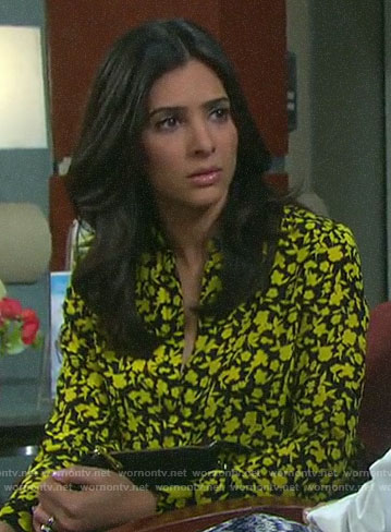 Gabi's black and yellow floral blouse on Days of our Lives