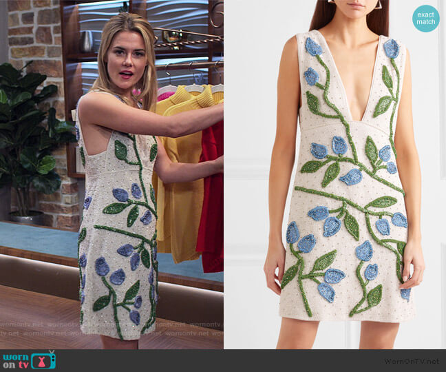 Orsay Embellished Chiffon Mini Dress by Ganni worn by Trish Walker (Rachael Taylor) on Jessica Jones