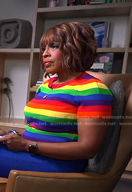 Gayle's rainbow striped tee on CBS This Morning