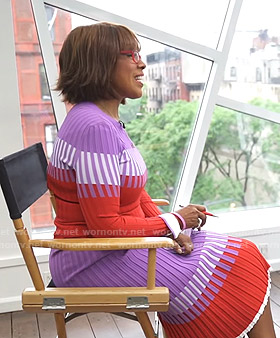 Gayle's purple and red ribbed sweater and skirt on CBS This Morning
