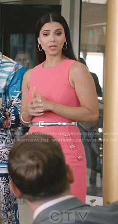 Gigi's pink button detail sheath dress on Grand Hotel
