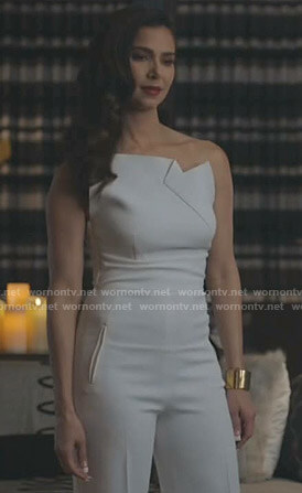 Gigi's white one-shoulder jumpsuit on Grand Hotel