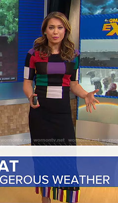 Ginger's multicolored checked top and fringed skirt on Good Morning America