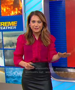 Ginger's red ruffled blouse on Good Morning America