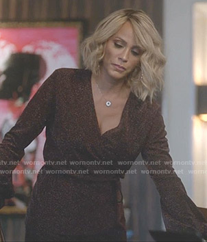 Giselle's metallic wrap top and pants on Empire