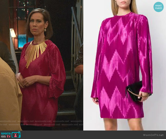 Zig Zag Pleated Dress by Givenchy worn by Diana Trout (Miriam Shor) on Younger