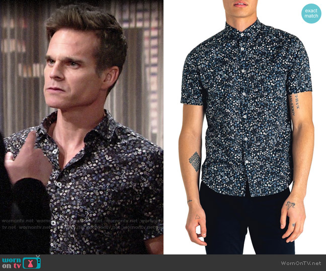 Good Man Brand Slim Fit Kensington Floral Print Shirt worn by Kevin Fisher (Greg Rikaart) on The Young & the Restless