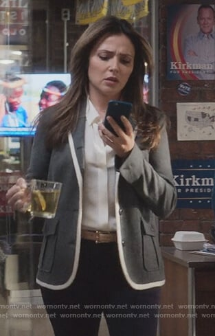 Emily's gray contrast trim blazer on Designated Survivor