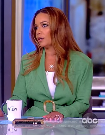 Sunny's green belted blazer and pants on The View