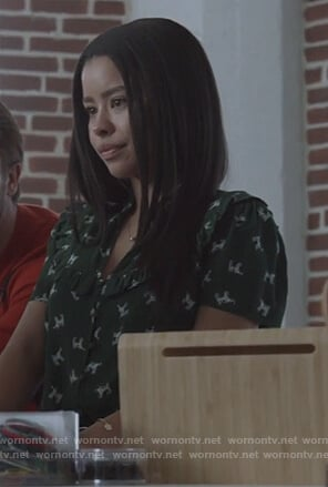 Mariana's green dog print top on Good Trouble