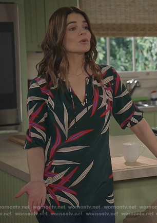 Heather's green floral tie neck blouse on Life in Pieces