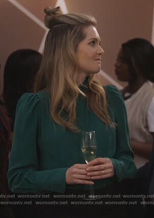 Sutton's green puff sleeve blouse on The Bold Type