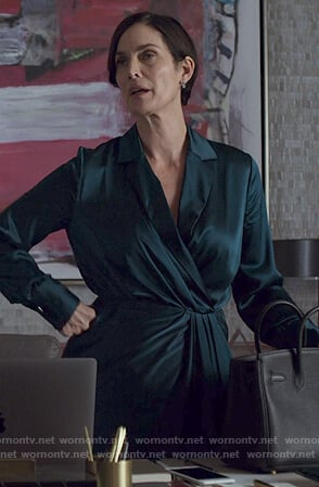 Jeryn's green satin wrap dress on Jessica Jones