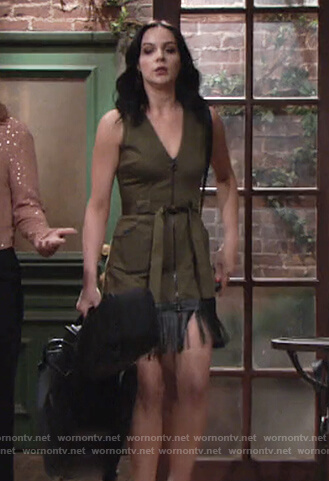 Tessa's green fringe dress on The Young and the Restless