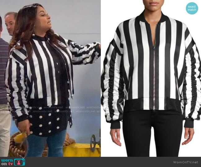 Grey Lab Striped Bomber Jacket worn by Raven Baxter (Raven-Symoné) on Ravens Home