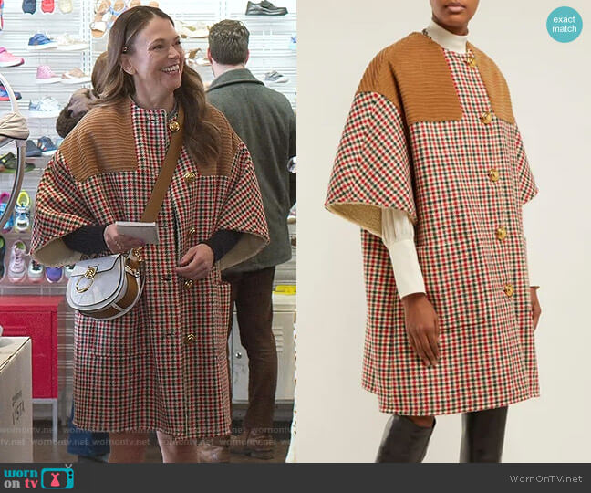 Cape-Sleeve Houndstooth Coat by Gucci worn by Liza Miller (Sutton Foster) on Younger