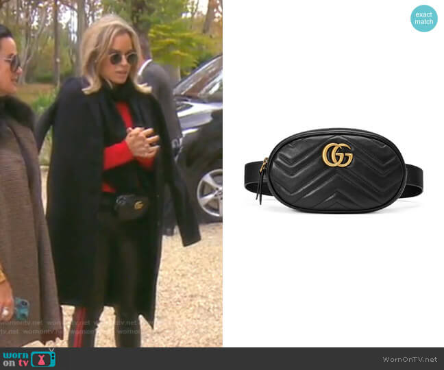 GG Marmont Matelassé Leather Belt Bag by Gucci worn by Teddi Mellencamp Arroyave  on The Real Housewives of Beverly Hills