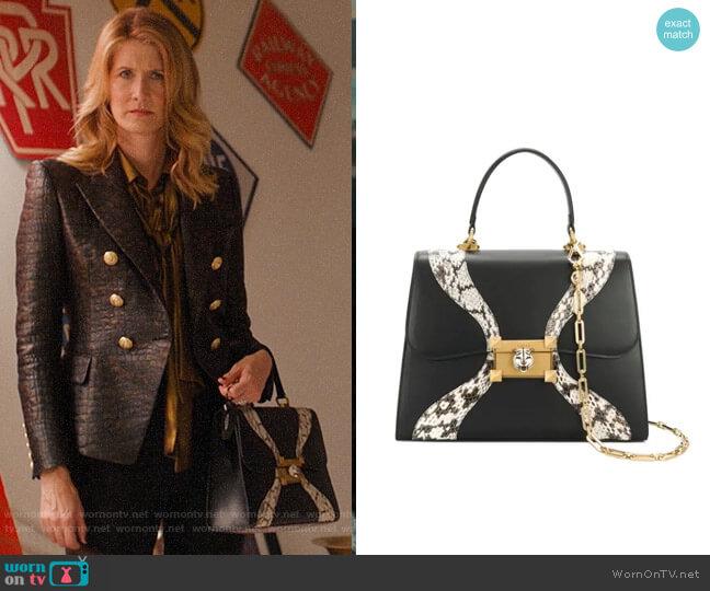 Gucci Leather and snakeskin top handle bag worn by Renata Klein (Laura Dern) on Big Little Lies
