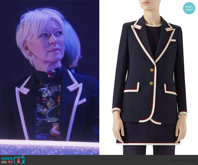 Peak Lapel Stretch Cady Blazer by Gucci worn by Joanna Coles on The Bold Type