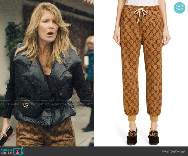 Gucci GG Print Technical Jersey Jogger Pants worn by Renata Klein (Laura Dern) on Big Little Lies