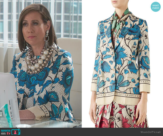Watercolor Floral Print Silk Jacket by Gucci worn by Diana Trout (Miriam Shor) on Younger