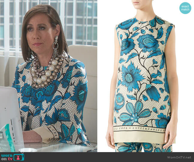 Watercolor Floral Print Silk Twill Blouse by Gucci worn by Diana Trout (Miriam Shor) on Younger