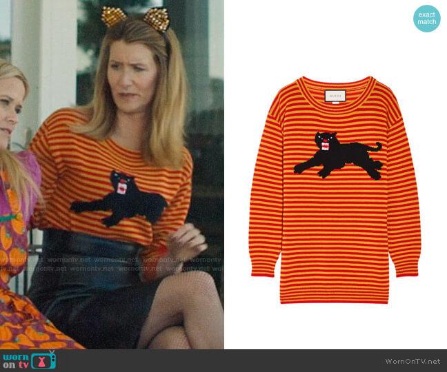 Gucci Striped Puma Sweater worn by Renata Klein (Laura Dern) on Big Little Lies