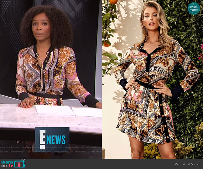 Baroque Print Chain Blouse and Pleated Skirt by Guess worn by Zuri Hall  on E! News