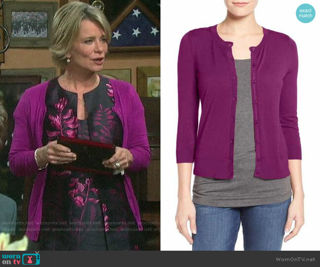 Halogen Crew Neck Cardigan worn by Kayla Brady (Mary Beth Evans) on Days of our Lives